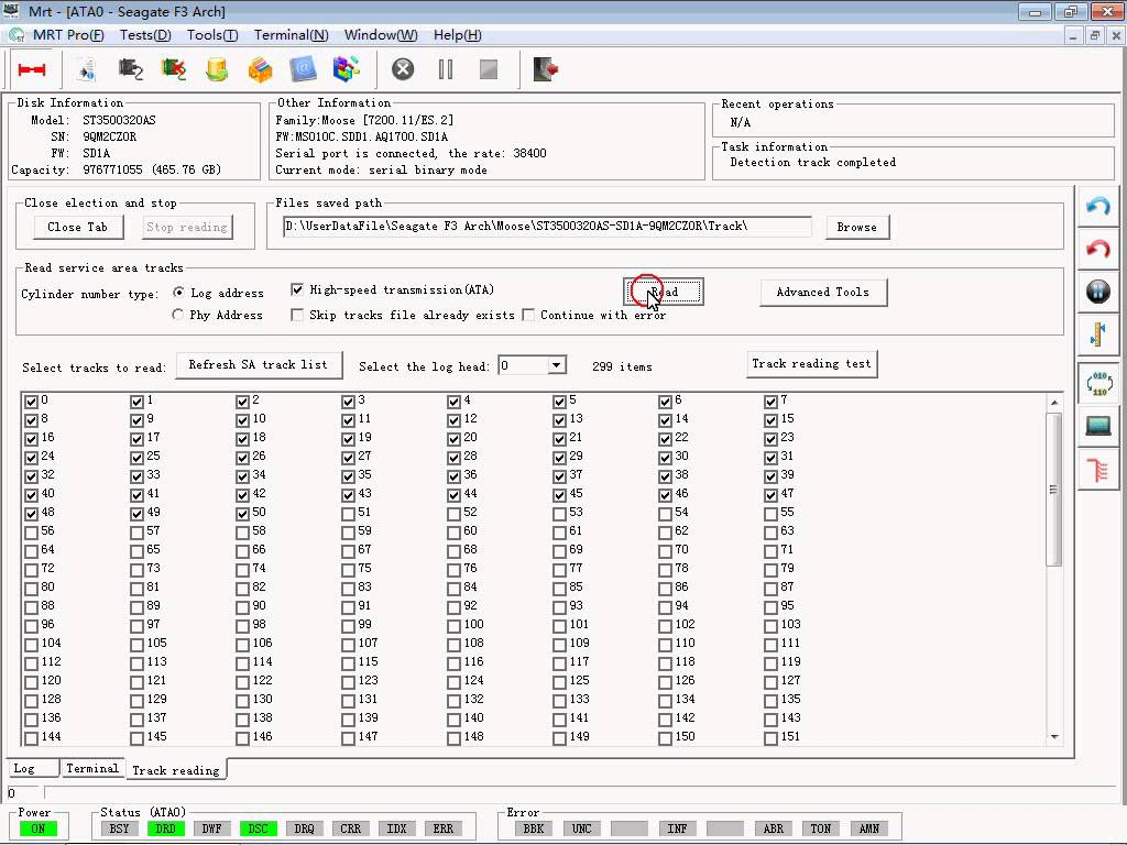 How to read and write SA tracks using MRT Pro – Seagate F3