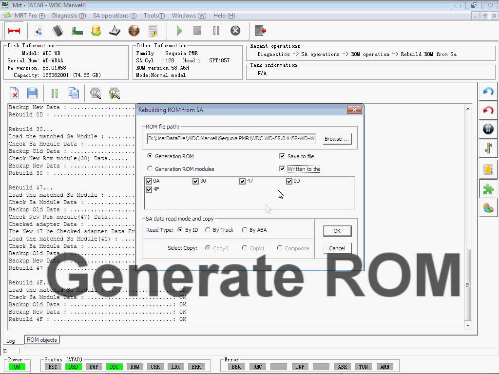 How to use MRT Pro to rebuild ROM Modules on Western Digital HDD